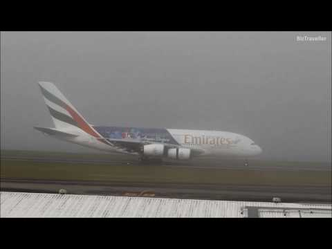 Worlds Second Longest Flight - Emirates very foggy landing at Auckland from Dubai