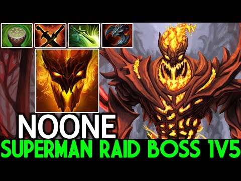 NOONE [Shadow Fiend] Superman Raid Boss 1v5 Gameplay 7.22 Dota 2