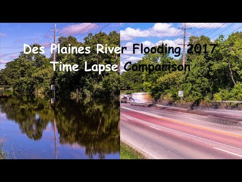 Des Plaines river flood 2017 - 4K time lapse comparison