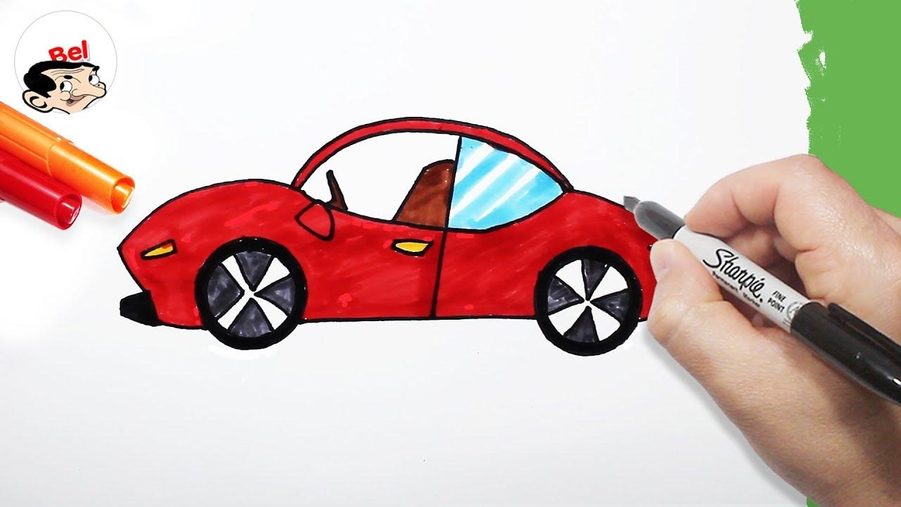 رسم سيارة جميلة خطوة خطوة للاطفال تعلم الرسم Youtube