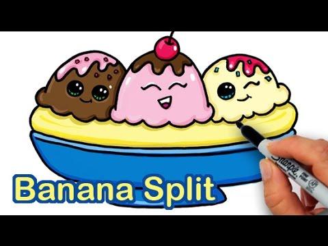 How To Draw A Yummy Cute Banana Split Ice Cream Sundae