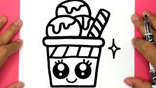 HOW TO DRAW A CUTE ICE CREAM AND COLORING, DRAW CUTE THINGS