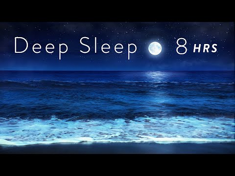 8 Hours Ocean Waves At Night For Deep Sleep - Relaxing Tropical Beach At Night For Sleeping