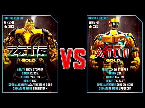 REAL STEEL WRB ZEUS GOLD VS ATOM Gold New Robots GOLD UPDATE (Живая сталь)