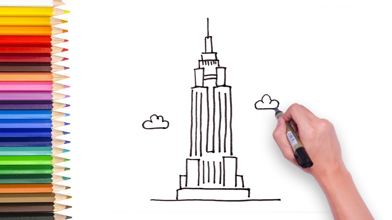 learn to draw the empire building video for kids to