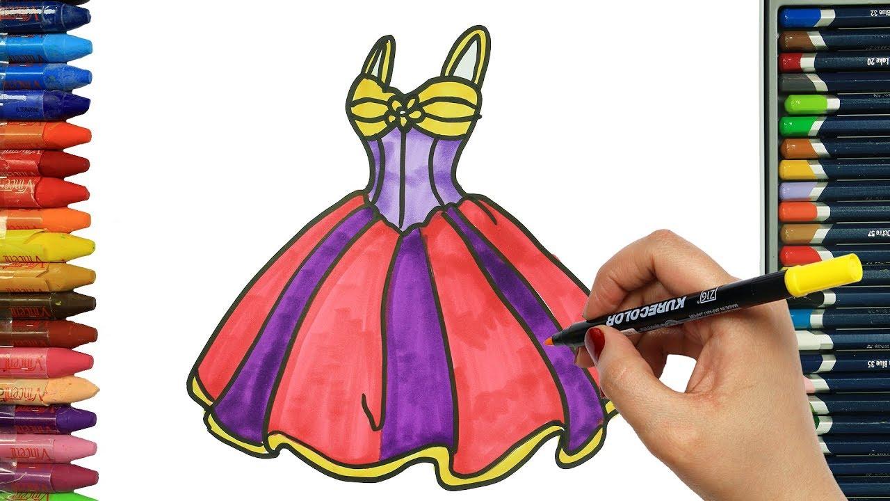 Como Dibujar Y Colorear Vestido De Princesa Dibujos Para Ninos