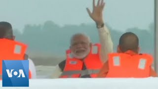 India's Modi Takes Stock of His River Cleaning Project on Steamer Ride