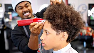 *FULL LENGTH* HAIRCUT TUTORIAL: CURLY TOP BURST TAPER FADE | CREATING A HAIRLINE