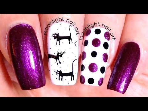 Black Cats Stamping Halloween Nails: Purple, Black and White Design Tutorial – by Moonlight Nail Art thumbnail