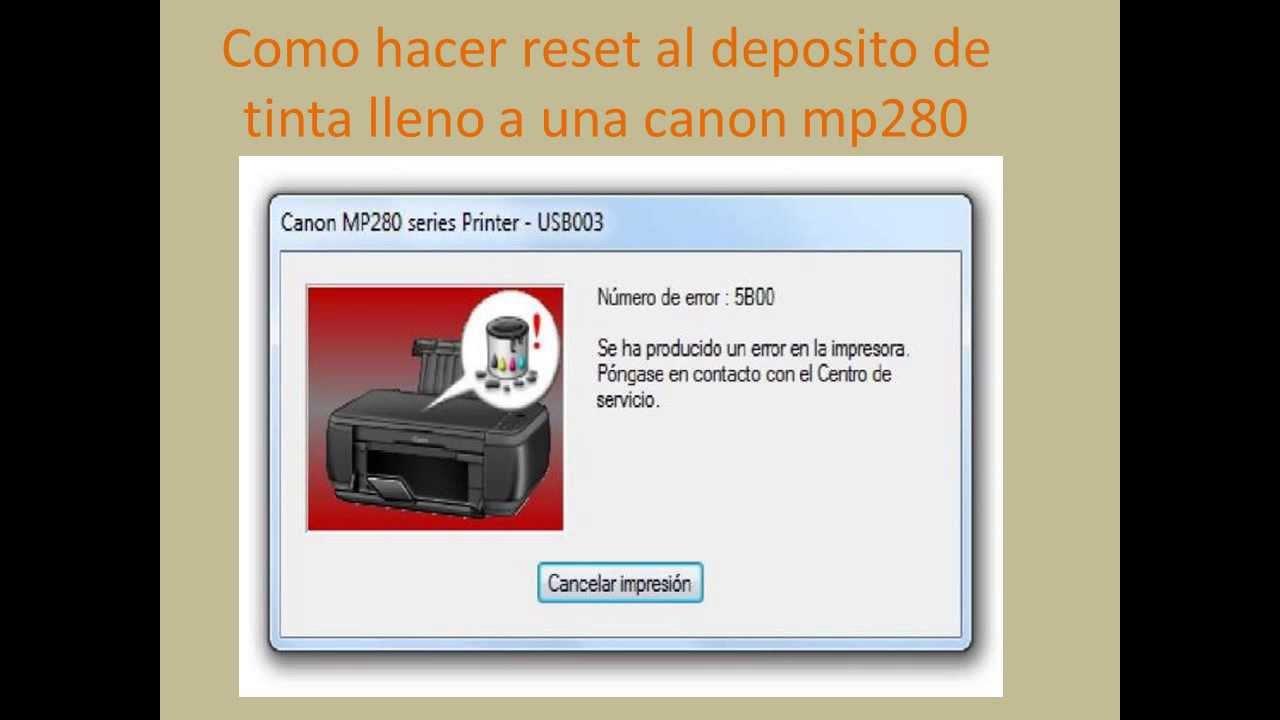Como resetear una impresora canon mp280
