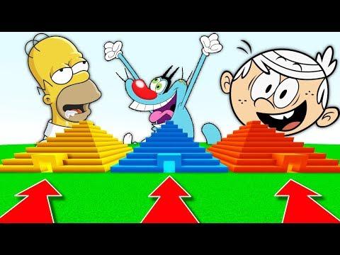 NE RENTREZ PAS DANS LA MAUVAISE PYRAMIDE MINECRAFT !! Homer Oggy et les Cafards Lincoln Loud !