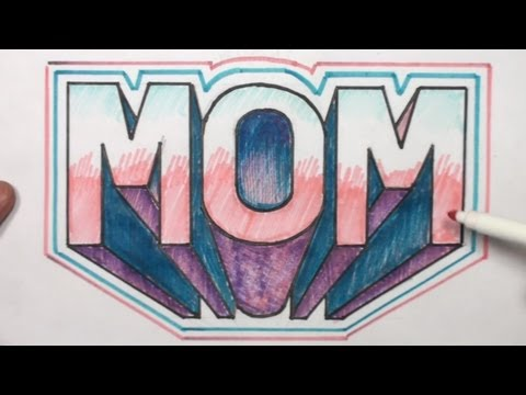 How to Draw 3D Block Letters MOM in One Point Perspective -