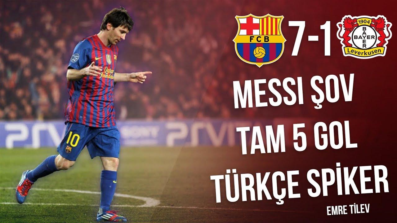 Barcelona 7-1 Bayer Leverkusen | Messi 5 Gol | Türkçe Özet (Mart 2012) • HD