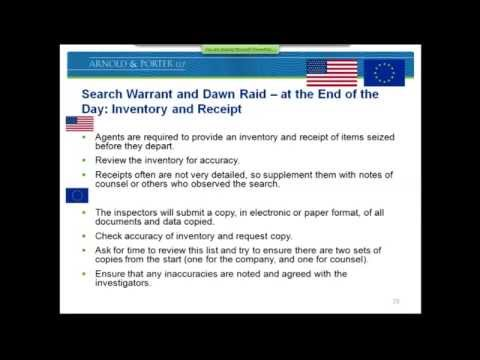 US and EU Cartel Investigations Stage 2: Search Warrants And Dawn Raids - Before, During and After