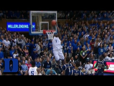 Duke's Zion Williamson Goes Elbows To Rim For The Alley-Oop Dunk