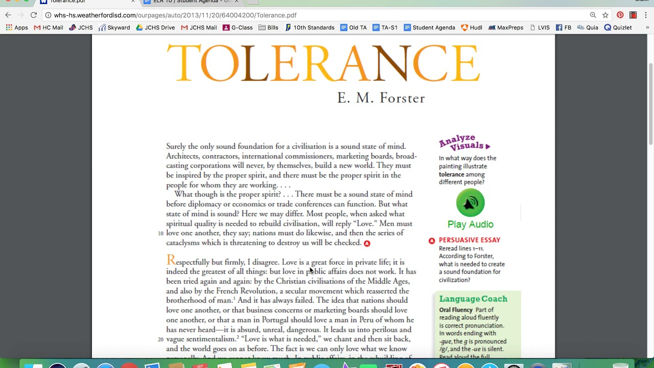 tolerance by e m forster