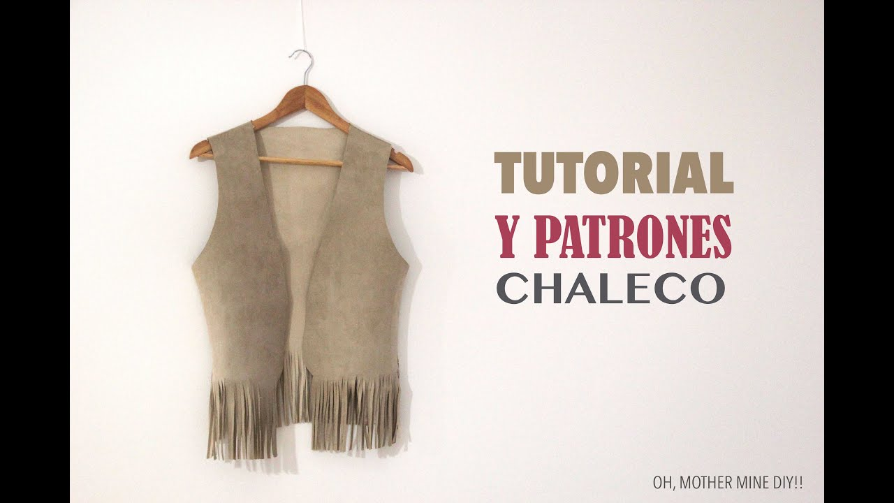 DIY Tutorial y patrones chaleco con flecos - YouTube