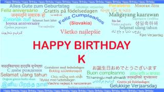 K   Languages Idiomas - Happy Birthday