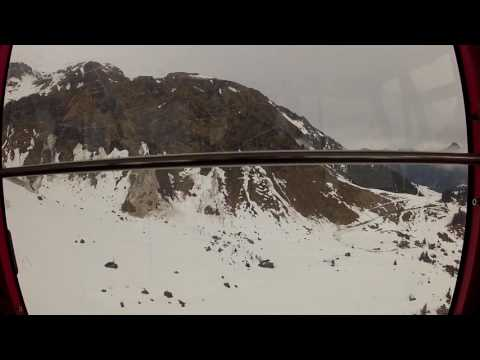 Inside the aerial cableway to Piz Gloria