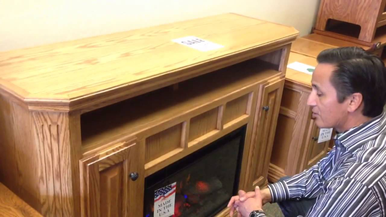 Oak For Less® - Clearance Electric Fireplace TV Stand - YouTube