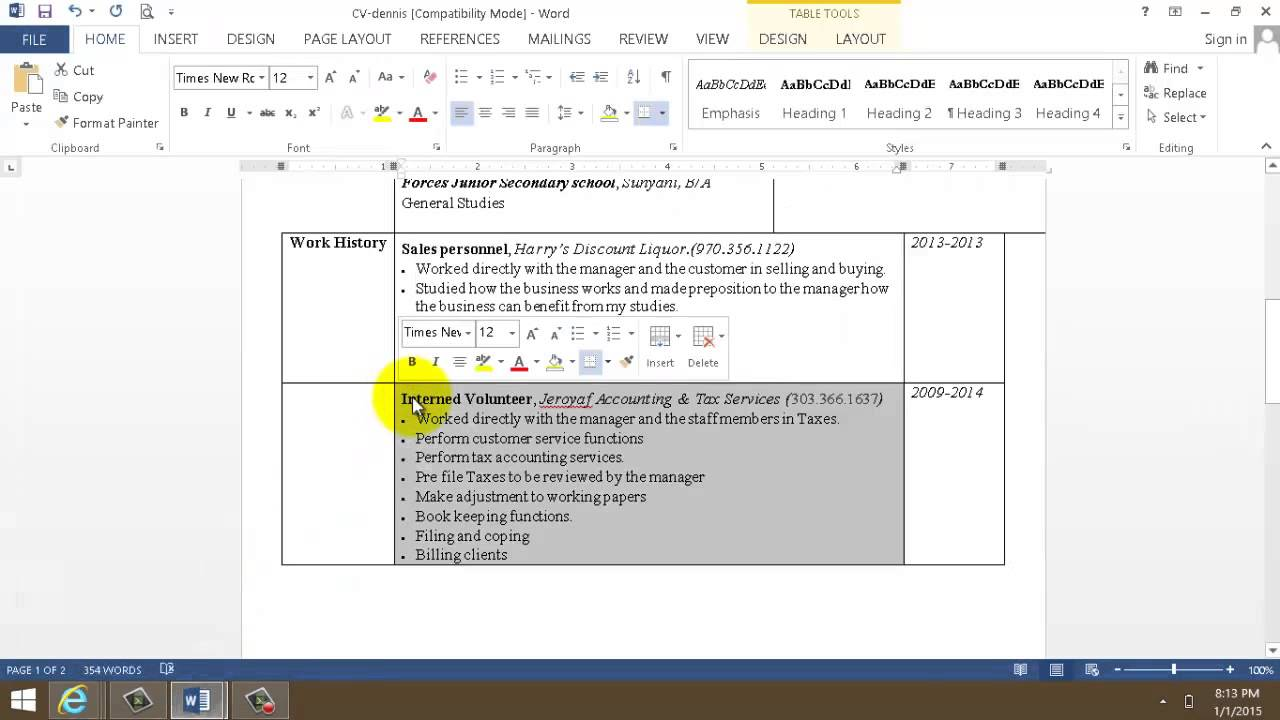 How To Create Professional Resume Using Microsoft Word  Create A Professional Resume
