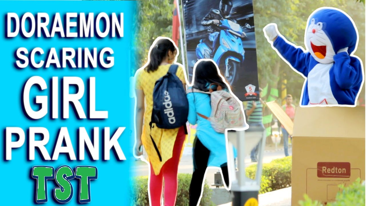 Doraemon Scaring GIRLS Prank - Trouble Seekers