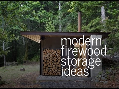 Modern firewood storage ideas youtube for Log storage ideas
