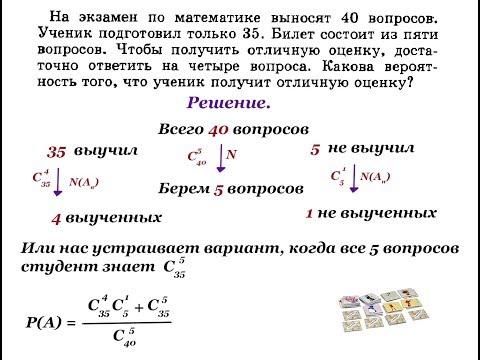 Урок 8. Теория вероятности с формулами комбинаторики. Сумма и произведение вероятностей. Алгебра 11.