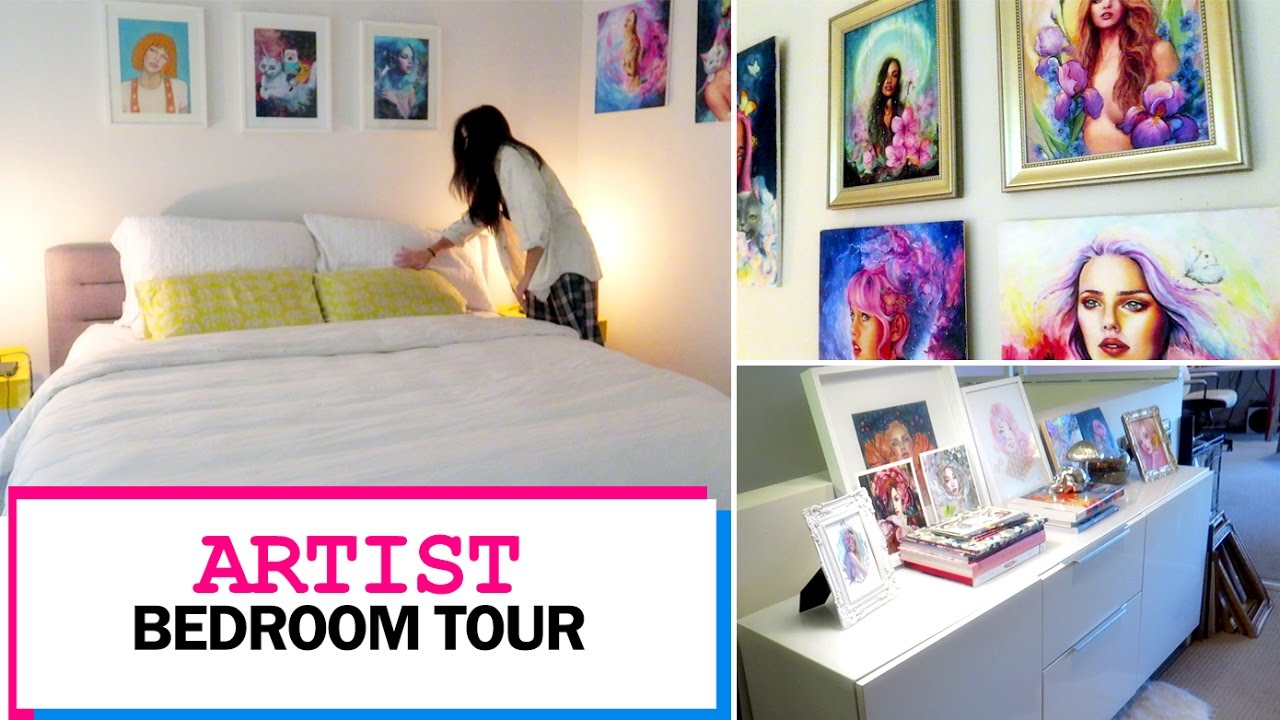 ARTIST BEDROOM TOUR || Frame Collection, Paintings, Etc.   YouTube