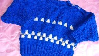 Рукоделие вязание детской кофточки (кофты, пуловера) спицами