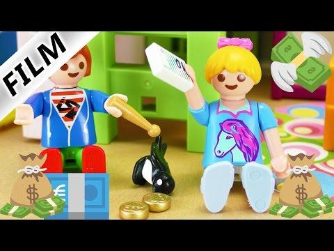 Playmobil Film deutsch   JULIAN und HANNAH wollen mehr Geld   Sparschwein oder mehr Taschengeld?