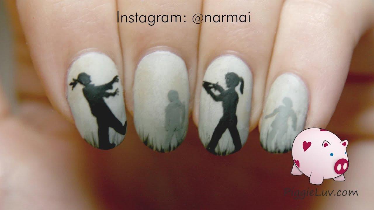 zombie silhouette nail art tutorial