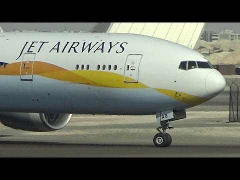 Jet Airways (Operated by Etihad) B777-300ER Rollout & Taxi at Abu Dhabi!
