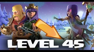 NEW MAX LVL 45 ARCHER QUEEN & BARBARIAN KING + 2016 CHRISTMAS TREE + WITCH BUFF | Clash of Clans