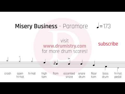 Paramore - Misery Business Drum Score