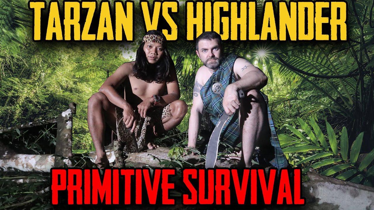 PRIMITIVE BUSHCRAFT — TARZAN Vs HIGHLANDER JUNGLE SURVIVAL SPECIAL @dede inoen