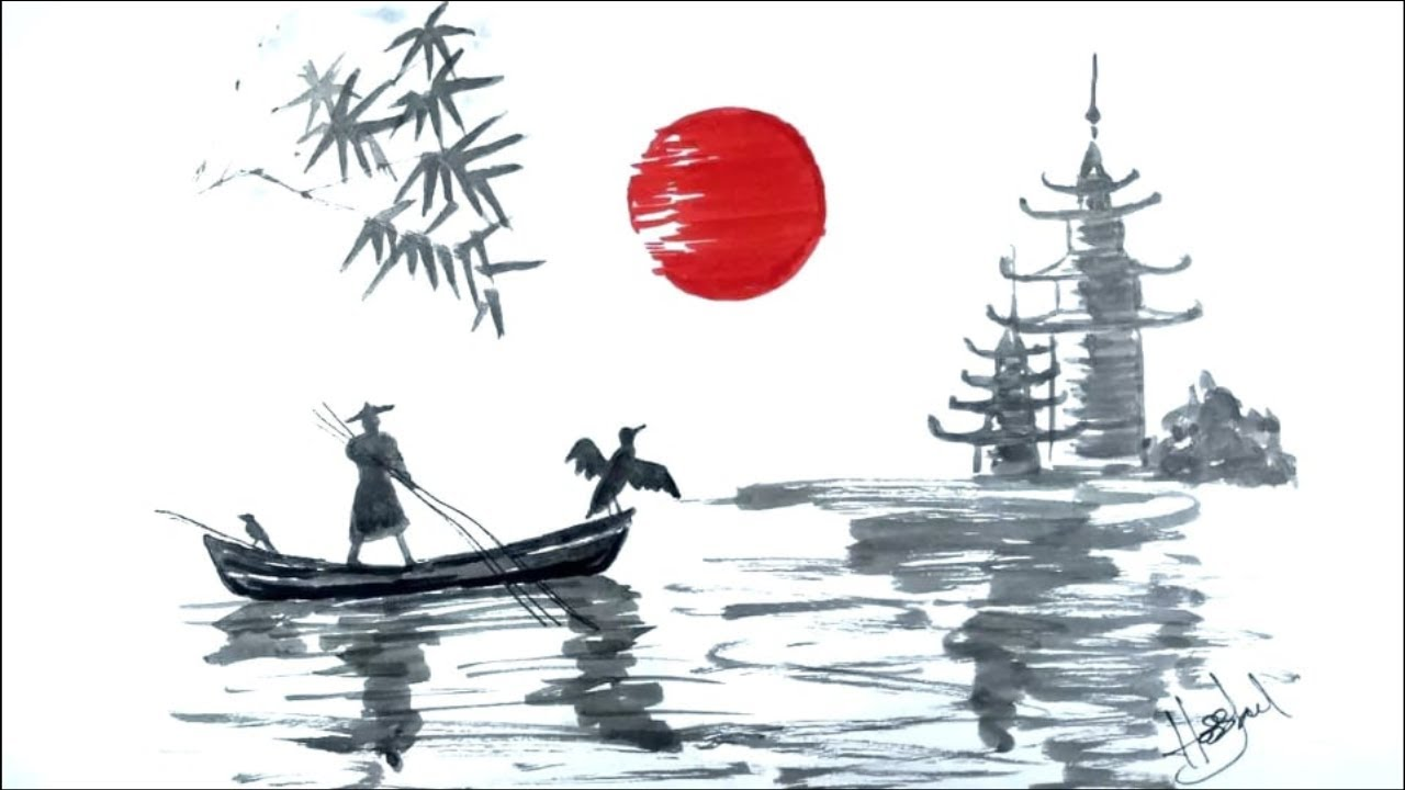 Japanese Landscape Drawing . Bamboo , Boat And Temple ...