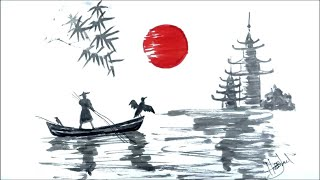 japanese drawing landscape temple boat bamboo