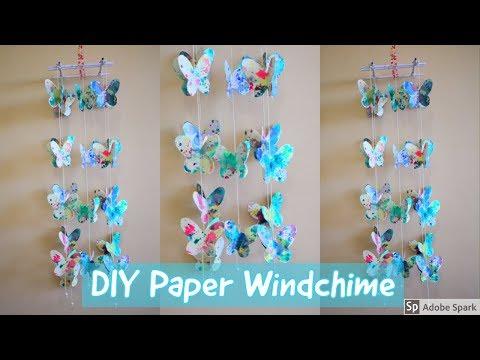 DIY    PAPER BUTTERFLY WALL DECOR     Paper Windchime   parulpawar