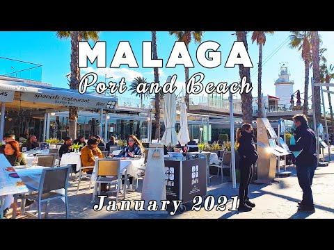 Malaga Port and Beach Walk in January 2021, Spain [4K]