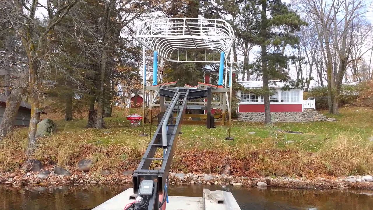 Boat lift removal by barge - YouTube