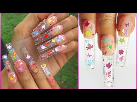 Leaf Glitter Glass Butterfly Twinkle Nails | DIY Refill Acrylic Nails thumbnail