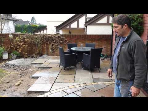 Laying A New Indian Sandstone Patio In Cardiff, South Wales