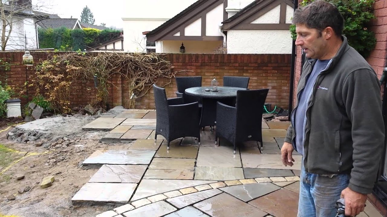 Laying A New Indian Sandstone Patio In Cardiff South Wales