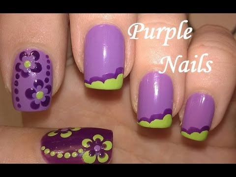 Purple green nail art easy flower nails no tools french purple green nail art easy flower nails no tools french manicure idea prinsesfo Choice Image