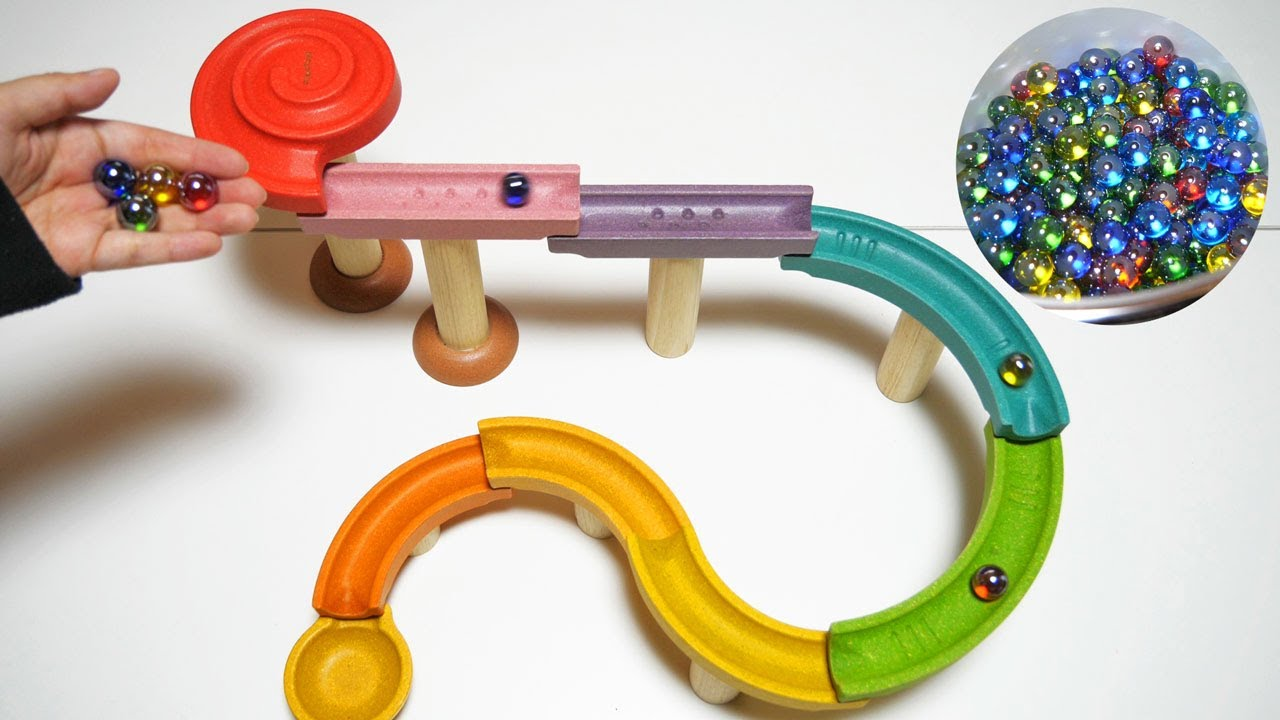 Marble Run Race ASMR ★ Wooden colorful course and Kumi Kumi slope