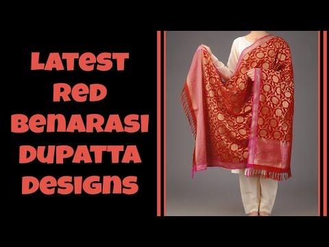 Latest Red Benarasi Dupatta Designs