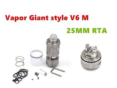 SS316 Vapor Giant Style V6M 25MM RTA Tank Atomizer By Wejoytech