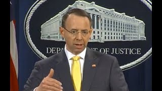 """BREAKING: Rod Rosenstein at Indictment Press Briefing: """"Operation DID NOT Change Election Outcome"""""""