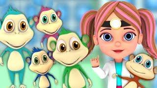 пять маленьких обезьян | детские стишки | Детские песни | мультфильмы для детей | 5 Little Monekys